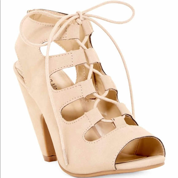 c60495216fa5d TOP Moda Shoes | Nude Lace Up Short Heels | Poshmark
